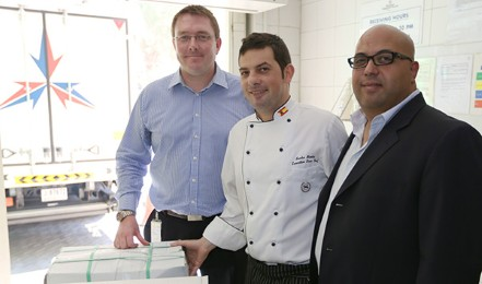 First deliveries received at the Sheraton Jumeirah Beach Resort Hotel - Paul Feeney, Head of Sourcing and Development at Mohebi Logistics (L) with Santos Montes, Executive Sous Chef at Sheraton JBR and Walid El Bardisi, Area Director, Operational Innovation, Starwood Hotels(R)